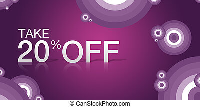 """Purple, high resolution """"Take 20% Off"""" coupon with abstract elements."""