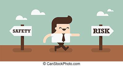 Take a risk - Business man choose to take a risk.