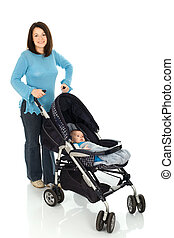Take a walk - Mother take a walk with baby in pram, Isolated...