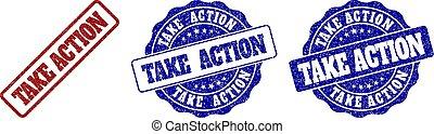 TAKE ACTION Grunge Stamp Seals