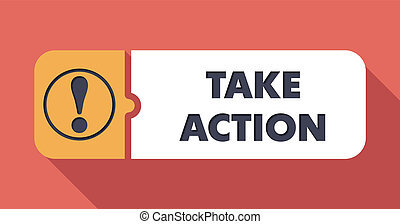Take Action Button in Flat Design with Long Shadows on Scarlet Background.