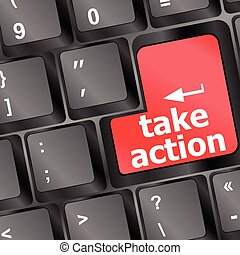 Take action red key on a computer keyboard, business concept vector illustration