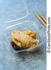 Take Away Asian Chinese Dessert Crepe Wrapped with Banana in Plastic Box Package / Container.