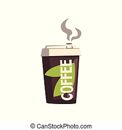 Take away coffee cardboard cup with lid vector Illustration on a white background
