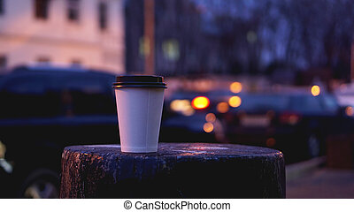 Take away coffee cup empty blank copy space for your design text or banner