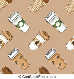 Take away coffee cup illustration pattern