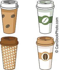 Take away coffee cup illustration set