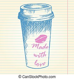 Take away coffee cup on notebook background