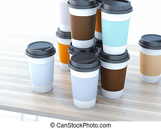 Take away coffee cups on wooden table