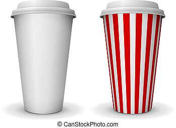 Take-away fast food coffee paper cup vector template.
