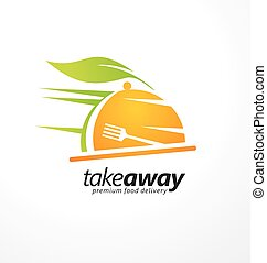 Take away food logo design idea. Food delivery logo with meal plate and fork in negative space. Vector illustration.