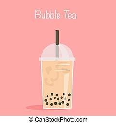Take away glass of pearl milk tea with straw. A cup of ...