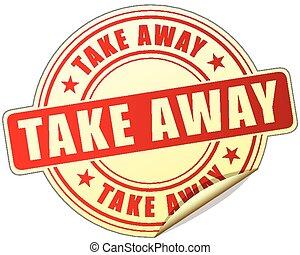 take away label - illustration of take away label design red...
