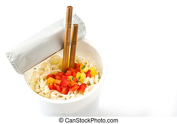 Take away noodles with vegetables isolated on white background. Copyspace