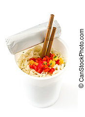 Take away noodles with vegetables isolated on white background.