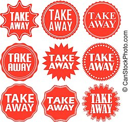 Take away red label. Take away red sign. Take away red banner. Vector illustration