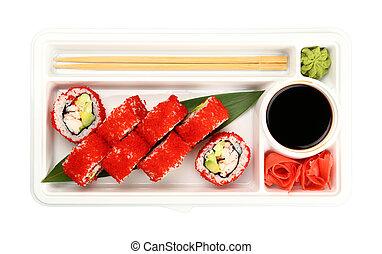 Take away set of sushi rolls with tobiko - Close up take ...
