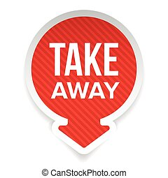Take Away sign vector label arrow red