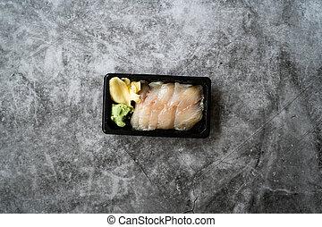 Take Away Suzuki Fish Sashimi with Pickled Ginger and Wasabi...