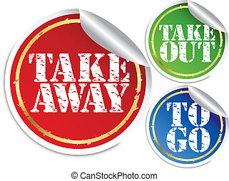 Take away, take put and to go stickers, vector