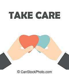 Take care business concept. Hands with red and blue hearts -...