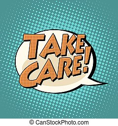 take care comic book bubble text pop art retro style