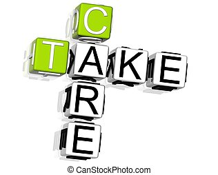 Take Care Crossword - 3D Take Care Crossword on white...