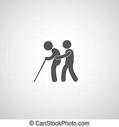 take care elder symbol on gray background