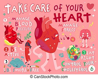 Take care of your heart. Creative landscape poster in modern style. Editable vector illustration. Stay healthy and happy. Medical, healthcare, hepatology concept. Useful information. Graphic design.