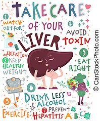 Take care of your liver. Creative vertical poster in modern style. Editable vector illustration. Stay healthy and happy. Medical, healthcare, hepatology concept. Useful information. Graphic design.