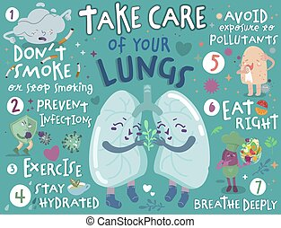 Take care of your lungs. Creative landscape poster in modern style. Editable vector illustration. Stay healthy and happy. Medical, healthcare, pulmonology concept. Useful information. Graphic design.