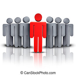 Take charge and social business financial symbol with one leading red human character managing advising and leading a team of followers to a path of success and financial wealth on a white background.