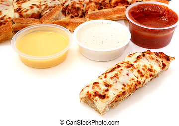 Take cheese pizza sticks with a container of marinara sauce...