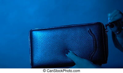 Take dollars from your wallet - The girl unzips the wallet's...