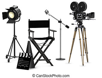 Take Five - Empty movie set with vintage movie gear on a...