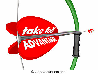 Take Full Advantage Bow Arrow Target Win Success 3d Illustration