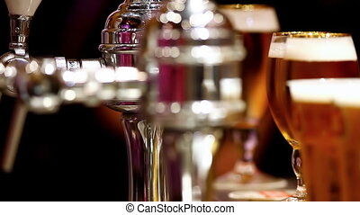 take glass with beer from bar