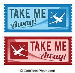 Take me away coupons on white background, vector...