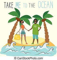Take me to the ocean. african american couple on a tropical island