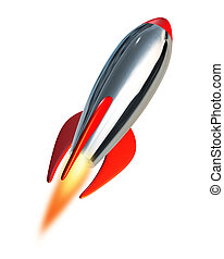 Take off and blast off symbol into space using a metal missile rocket spacecraft propelling into a white background representing fresh planning and strategy with new beginnings and charging towards the future ahead.