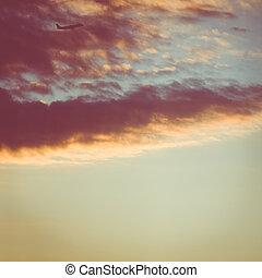 take-off at dusk