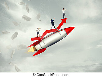 Take-off business success. 3D Rendering - Business people...