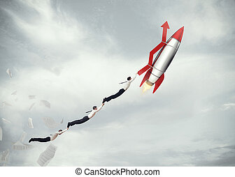 Take-off business success. 3D Rendering - Businessmen flying...