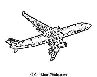 take off flying plane sketch engraving vector illustration. T-shirt apparel print design. Scratch board imitation. Black and white hand drawn image.