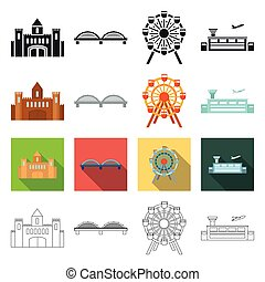 take-off, infrastructure, travels and other web icon in different style. plane, airport, strip, icons in set collection.