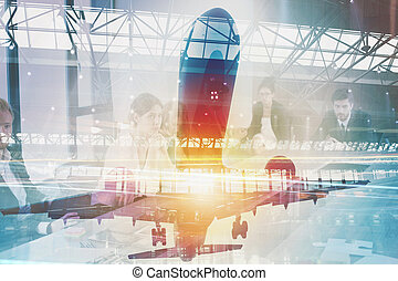 Take off of an aircraft with double exposure of airport