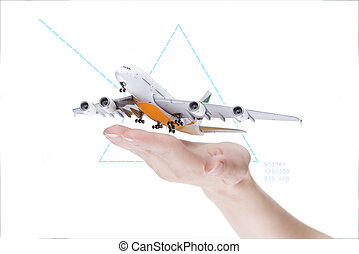 Take-off plain, transportation concept