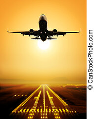 take-off runway - passenger plane fly up over take-off...