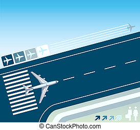 Take-off strip - Airplane at the take-off strip concept...