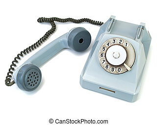 take off telephone receiver - old blue phone against the...